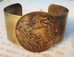 Of Flame Fox Fire Brass Cuff Bracelet by FusedElegance