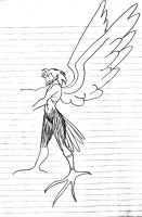 Male Harpy Black and White (Unfinished) by Jakegothicsnake