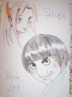 Sakura and Rock Lee by Persefone999