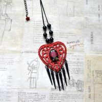 Gothic Red Heart and Black Spikes necklace by Verope