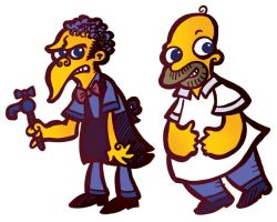 Homer and Moe for some reason by raisegrate