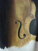 Angle and fade of a honey-colored violin by DemonRed6