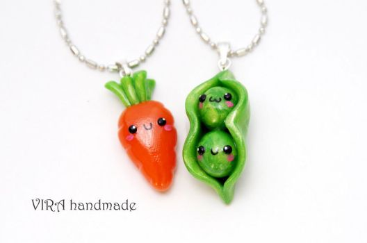 Kawaii Carrot and Peas Best Friends Necklaces by virahandmade
