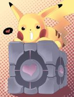 Pikachu and the Companion Cube by Willow-San