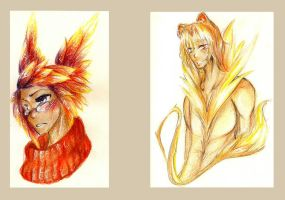 A pair of colored sketches by AvisFortuna