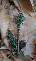 Emerald Forest Fantasy Key Pendant by ArtByStarlaMoore