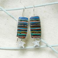 Fun on the Beach ooak summer earrings handmade by YANKA-arts-n-crafts