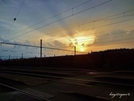 Railways and sunrise by kay17ryan