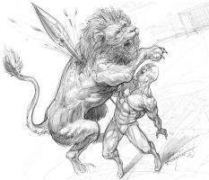 gladiator vs lion by thecrow3