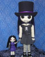 Gothy Girl in Top Hat Rag Doll by Zosomoto