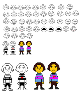 Huge W.I.P Frisk Sprite Sheet by BlissfulBOOM