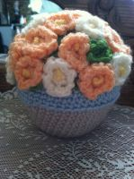 Crocheted Amigurumi Potted Plant by LunarIceDragon