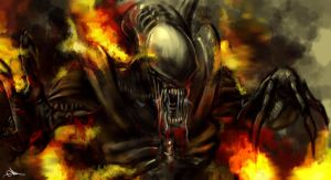 aliens on fire by putra666
