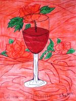 A glass of red wine with roses by Dash-Ing-Nerro