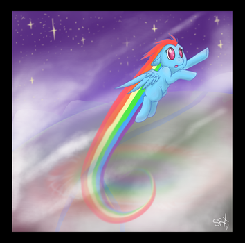 Rainbow Dash into the Blue by PterosaurPony