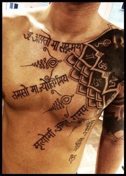 A mantra of peace and happiness by Meatshop-Tattoo