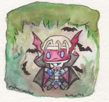 Myotismon chibi watercolor doodle by MystressVulpes