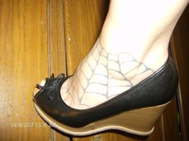 my spiderweb tattoo by PurpleStripeyedSpork