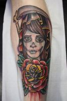 day of the dead woman tattoo by stroder