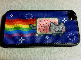 Nyan Cat cross-stitch iPhone by Rosaka