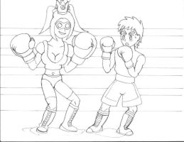 Sparring- Raven and Carla- WIP lines by ravenf6