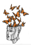 Butterflys Coming Out Of An Android's Head by Dana-Ulama