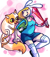 ADVENTURE TIME--Fiona and Cake by Dandebird