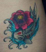 Koi and Lotus flower tattoo by Phoenix-Cry