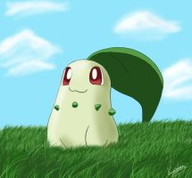 Chikorita in the meadow by Kisumi87