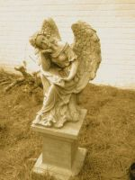 Antiqued Angel Statue by FroggieFaith