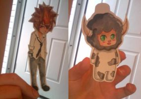 Reborn Lambo and Tsuna Dolls by midnightc10