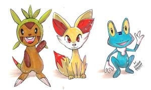 starters pokemon x and pokemon y by KenronToqueen