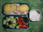 Barbecue leftovers bento by Flicksi