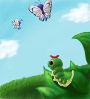 caterpie and butterfree by Demonshark151