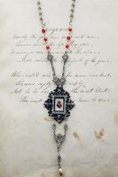 Hand Drawn Sacred Heart Necklace by asunder