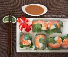 Homemade Shrimp Rolls with Peanut Sauce II by theresahelmer
