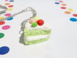 Green Tea Cake Necklace by kikums