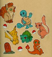 First Gen. Pokemon Doodles by damsel-in-distrust