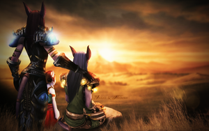 Inarii and Nasaerii Wallpaper - World of Warcraft by ginnypinny