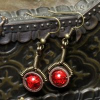 red crackle steampunk Earrings by CatherinetteRings