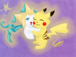 PC: Jirachi and Pikachu by LoneWolf974