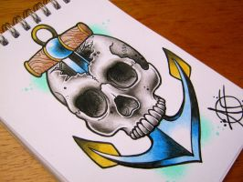 Skull Anchor Flash Design by Frosttattoo