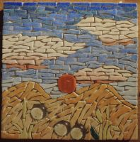 Sunset Box lid - WIP.3: Tiling Finished [Mosaics] by AloiInTheSky