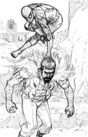SpiderMan vs Kraven The Hunter pencils by MarcLaming