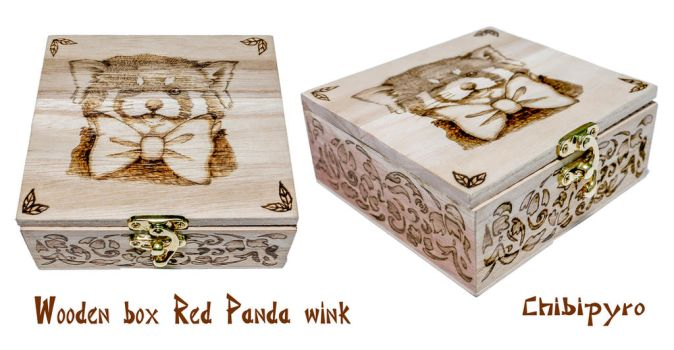 Wooden Box Red Panda by ChibiPyro
