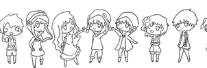 Chibi Children Record LINEART by FairyBlueSoul