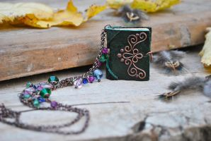 mini Book Necklace by twistedjewelry