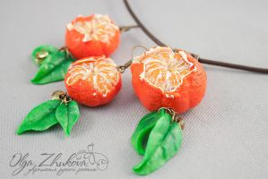 set with mandarins from polymer clay by polyflowers
