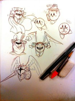 kirby sketch dump by Coralreef00