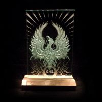 Phoenix Rising Sandblasted Art Glass in Wood Base by ImaginedGlass